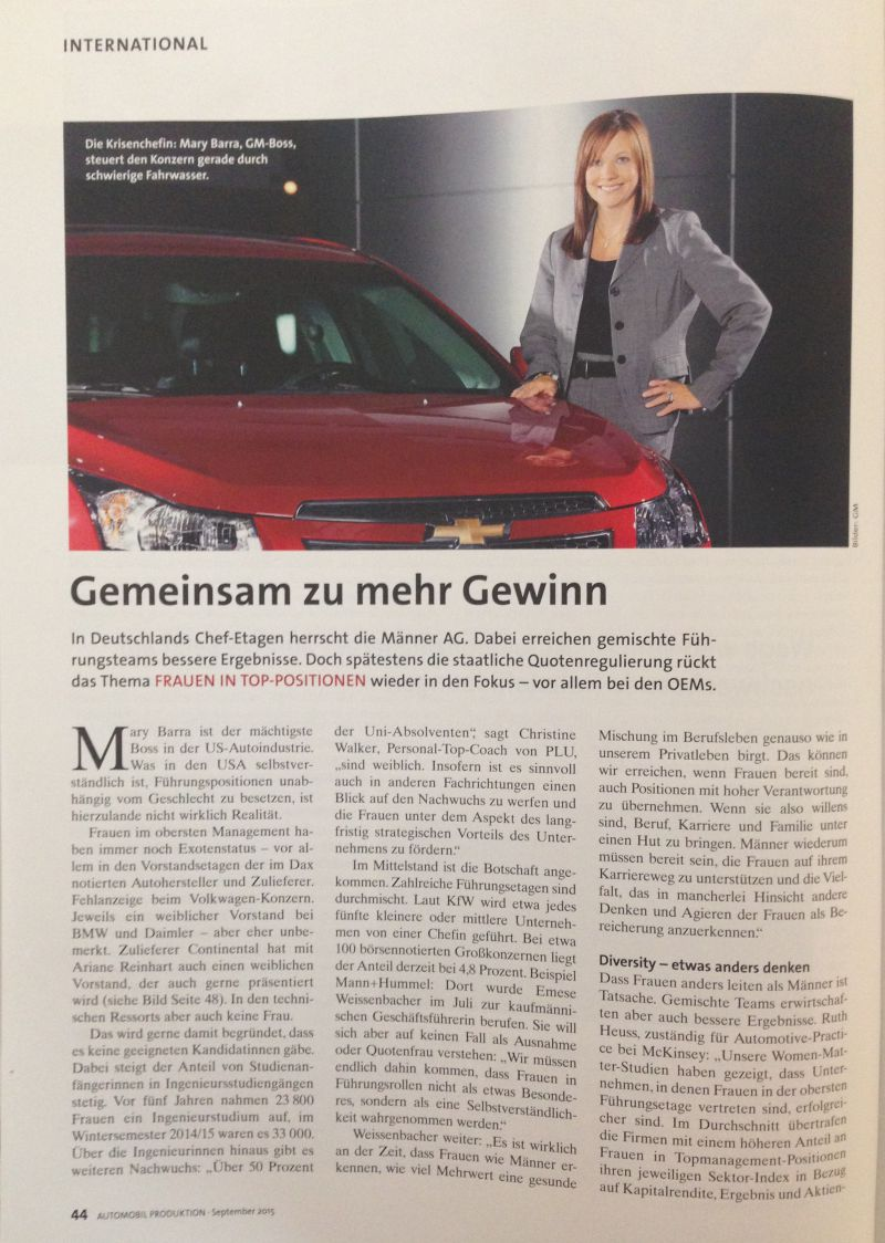 "Christine Walker cited in Automobil-Production Magazine ""greater profit, together"""